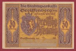 Allemagne 1 Notgeld  De 30 Pf  Stadt  Greiffenberg  (Pologne-Gryfow)  ( RARE) Dans L 'état   Lot N °343 - Collections