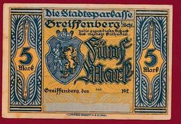 Allemagne 1 Notgeld  De 5 Mark  Stadt  Greiffenberg  (Pologne-Gryfow)  ( RARE) Dans L 'état   Lot N °347 - Collections