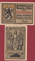 Allemagne 1 Notgeld  De 50 Pf  Stadt  Remda I Thur ( RARE) Dans L 'état   Lot N °362 - Collections
