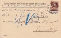 Schweiz. Metallarbeiterverband, Zürich - NN - Interessante Frankatur - 1915         (P-344-10304) - ZH Zurich