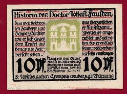 Allemagne 1 Notgeld  De 10 Pf  Stadt  Roda ( RARE) Dans L 'état   Lot N °367 - Collections