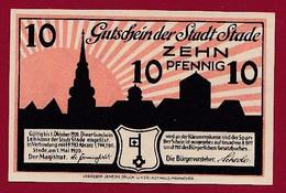 Allemagne 1 Notgeld  De 10 Pf  Stadt  Stade ( RARE) Dans L 'état   Lot N °375 - Collections