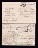 HOPITAUX 14/18 - 2 X Carte-Vue En Franchise D'un Infirmier Belge RENNES 1916 - Cachet HOPITAL Complémentaire RENNES - Armada Belga