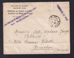 Enveloppe En Franchise PARIS 1917 Vers ARCACHON - Entete Et Cachet Gouvernement Belge , Tribunal Des Sursis De PARIS - Armada Belga