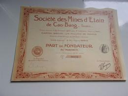 MINES D'ETAIN DE CAO BANG (tonkin) - Unclassified