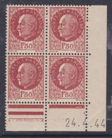 France N° 517 XX : Type Mal Pétain : 1 F. 50 Brun En Bloc De 4 Coin Daté Du 24 . 4 . 44 ; 3 Points Blancs Ss Char., TB - 1940-1949
