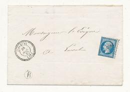 20 Cts Bleu N°14 ND Sur Lettre JUBLAINS (51) PC 4381 Du 28/11/1862 Indice 19 (sans Texte) - Voir Scan : Timbre Touché - 1849-1876: Classic Period