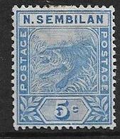 MALAYA - NEGRI SEMBILAN 1894 5c SG 4 TOP VALUE OF THE SET MOUNTED MINT Cat £35 - Negri Sembilan