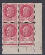 France N° 519 XX : Type Maréchal Pétain : 2 F. 40 Rouge  En Bloc De 4 Coin Daté Du 11 . 3. 42 ; Sans Charnière, TB - 1940-1949