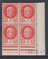 France N° 521 XX : Type Maréchal Pétain : 3 F. Orange  En Bloc De 4 Coin Daté Du 22 . 11 . 41 ; Sans Charnière, TB - 1940-1949