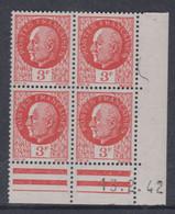 France N° 521 XX : Type Maréchal Pétain : 3 F. Orange  En Bloc De 4 Coin Daté Du 13 . 2 . 42 ; Sans Charnière, TB - 1940-1949