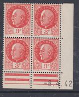 France N° 521 XX : Type Maréchal Pétain : 3 F. Orange  En Bloc De 4 Coin Daté Du 8 . 4 . 42 ; Sans Charnière, TB - 1940-1949