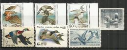 Oiseaux Aquatiques.  7 Timbres Neufs ** (USA,Suède,Allemagne,etc 1991) - Patos