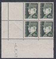 France N° 523 XX :Type Maréchal Pétain: 4 F. 50 Vert En Bloc De 4 Coin Daté Du 4 . 6 . 42 ; Sans Charnière, TB - 1940-1949