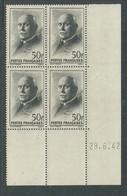 France N° 525 XX :Type Maréchal Pétain: 50 F. Noir En Bloc De 4 Coin Daté Du 29 . 6 . 42 ; Sans Charnière, TB - 1940-1949