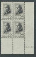 France N° 525 XX :Type Maréchal Pétain: 50 F. Noir En Bloc De 4 Coin Daté Du 19 . 9 . 42 ; Sans Charnière, TB - 1940-1949