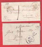 2 CURSIVE BRUREAU DISTR DEVENANT BOITE RURALE CURSIVE TILLOY BOITE RURALE AUVE 1846 CURSIVE AUVE OR TILLOY 1851 MARNE - 1801-1848: Precursori XIX