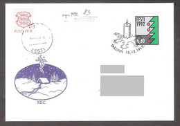 Christmas Estonia 1992  Stamp FDC Mi 195x  REGISTERED - Estonia