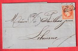 N°16 PC 441 BORDEAUX GIRONDE 1861 POUR LIBOURNE - 1849-1876: Klassieke Periode
