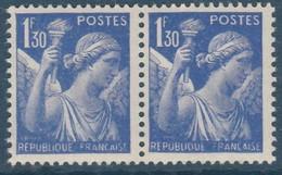 Iris 1fr30 Outremer YT 434 Signature Du Graveur Effacée Tenant à Partiel . Voir Le Scan . Cote Maury N° 434h > 9 € . - Abarten: 1931-40 Ungebraucht