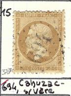 FRANCE Classique: Le Y&T 21, Obl. GC 694 (Cahuzac-s-Vère, Ind.15), TARN - 1862 Napoléon III