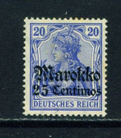 GERMAN POs IN MOROCCO  -  1911-18 Germania Deutches Reich Definitive 25c On 20pf Hinged Mint - Deutsche Post In Marokko