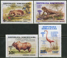 DOMINICAN REPUBLIC Dominicana 1977 8th Panamerican Congress Of Animal Doctors Iguana Flamingo Birds Animals Fauna MNH - Flamingo