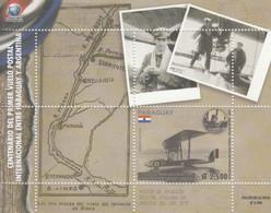 2019 Paraguay First International Postal Flight To Argentina Aviation Maps Souvenir Sheet MNH - Paraguay