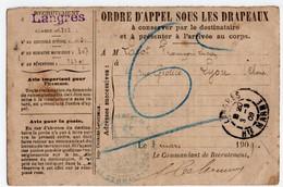 MILITARIA.14-18 ORDRE D'APPEL Sous Les DRAPEAUX. LYON (69) Pour Le 21 ème Rgt. CASERNE TURENNE à LANGRES (52) - Documents