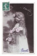 Jolie Fillette Et Fleurs, Amitié,  Cheveux Longs, 1908, éd. A. N.  N° 537 - Retratos