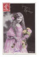 Jolie Fillette Et Fleurs, Tendre Souvenir,  Cheveux Longs, 1908, éd. A. N.  N° 537 - Retratos