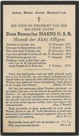 Dom Remaclus SIAENS O.S.B.  Monnik Der Abdij Van AFFLIGEM - Obituary Notices