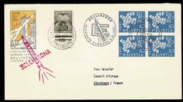 EUROPA CEPT SUISSE EN BLOC DE 4 1961 TAXE GERBES CONSEIL EUROPE VIGNETTE FUSEE BELLINZONA STRASBOURG - Covers & Documents