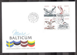 Birds Of The Baltic Estonia 1992 4 Stamps FDC On Special Cover Mare Balticum Mi 188-91 - Estonia