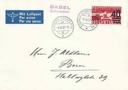"""Luftpost Sonderbrief  """"Basel Barfüsserplatz"""" - Bern            1937 - Covers & Documents"""