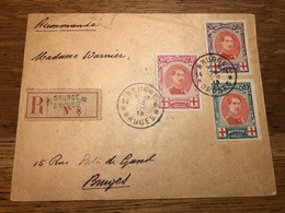 """Croix-rouge - Série Complète çàd N°132/4 Sur Lettre En R Obl Agence """"Brugge / Bruges 14"""" (1919) > Bruges. TB - 1914-1915 Red Cross"""