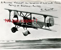 PHOTO AVIATION - PILOTE LOUIS MASSOTTE DANS SON BIPLAN AU METTING DE BORDEAUX EN 1937 - DEDICACE A SON AMI HEINAULT - Aviación
