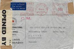 1941-enveloppe De La Croix Rouge Oblit. Mécanique Rouge  Par Avion, Pour L'Angleterre - Censure Anglaise - Covers & Documents