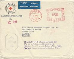 1942-enveloppe De La Croix Rouge Oblit. Mécanique Rouge  Par Avion, Pour L'Angleterre - Censure Anglaise - Covers & Documents