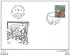 90 - 64 - Enveloppe Avec Oblit Illustrée De Les Geneveys-sur-Coffrane 1996 - 1er Jour Du Cachet - Postmark Collection