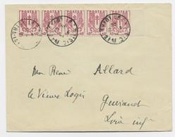 CHAINE 40C BANDE DE 5 BDF LETTRE LE CROISIC 31.7.1945 AU TARIF - 1941-66 Coat Of Arms And Heraldry