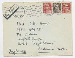 GANDON 6FR ORANGEX2+3FR BRUN LETTRE AVION LYON RP 25.5.1946 POUR ANGLETERRE AU TARIF - 1945-54 Marianne (Gandon)