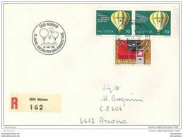 """90 - 50 - Enveloppe Recommandée Avec Oblit Spécaile """"75. Jahre Hochalpen-Ballonaufstiege Mürren 1985"""" - Postmark Collection"""