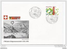 """90 - 33 - Enveloppe Avec Oblitération Spéciale """"Fête Nationale 1991 Schwyz"""" - Postmark Collection"""