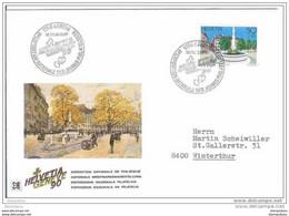 """70 - 4 - Enveloppe Suisse Avec Découpé Bloc Et Oblit Spéciale """"helvetia 90 - Jeunes Philatélistes 1990"""" - Postmark Collection"""