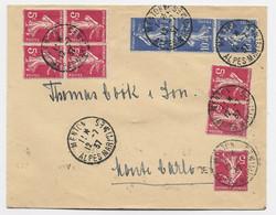 SEMEUSE 5C ROSE 7+10C BLEUX3 LETTRE MENTON 12.7.1937 POUR MONTE CARLO 1ER JOUR 65C - 1906-38 Sower - Cameo