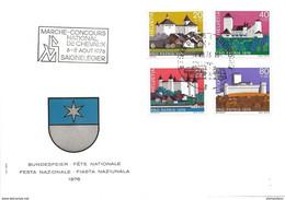 """236 - 91 - Enveloppe Avec Série Pro Patria 1976 Et Oblit Spéciale """"Marché-Concours De Chevaux Saignelégier 1976"""" - Postmark Collection"""