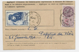 N° 461 50FR GUYNEMER RARE SEUL CARTE ABONNEMENT POSTE RESTANTE LYON GROLEE 10.5.1941 + TIMBRE FISCAL 60C 10FR EN TROP - 1921-1960: Modern Period