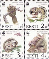 Estonia 1994 WWF The Siberian Flying Squirrel ( Pteromys Volans ) Set Of 4 Stamps - Nuevos