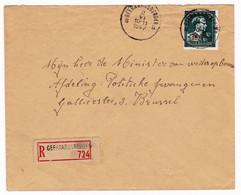 Lettre Recommandée 1947 Geraardsbergen Grammont Belgique Bruxelles Minister Van Wederopbouw - Brieven En Documenten